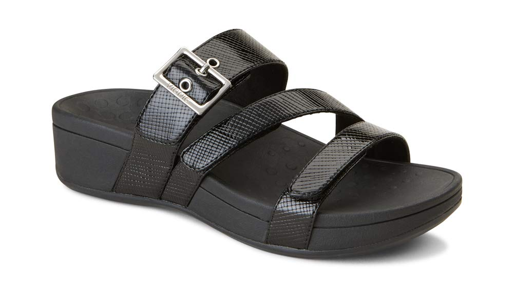 Women's Pacific Rio Platform Slide Sandals- Black Lizard