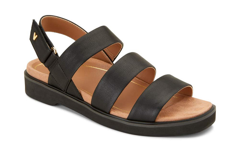 Women's Leila Keomi Backstrap Sandal -Concealed Orthotic Support Sandal - Black