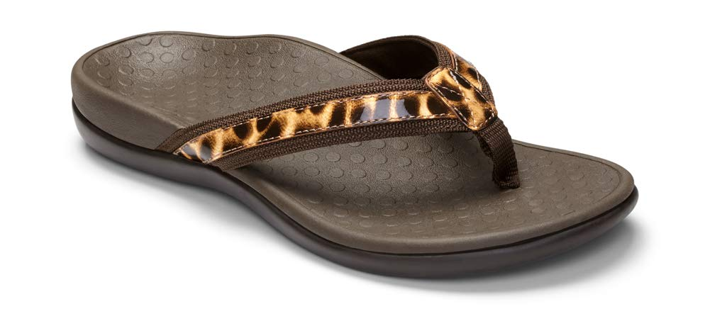 Women's Tide II Toe Post Sandal - Flip Flop with Concealed Orthotic Arch Support - Brown Leopard