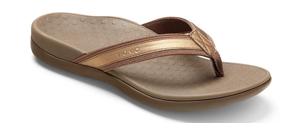 Women's Tide II Toe Post Sandal - Flip Flop with Concealed Orthotic Arch Support- Bronze Metallic