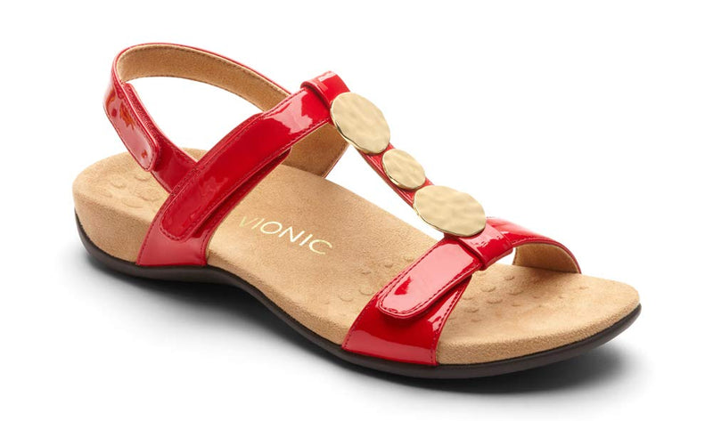 Women's Rest Farra Back Strap Sandal -Adjustable Sandals with Concealed Orthotic Support- Red Patent