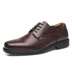 Men's Wide Width Leather Dress Shoes- Wide-1-Brown