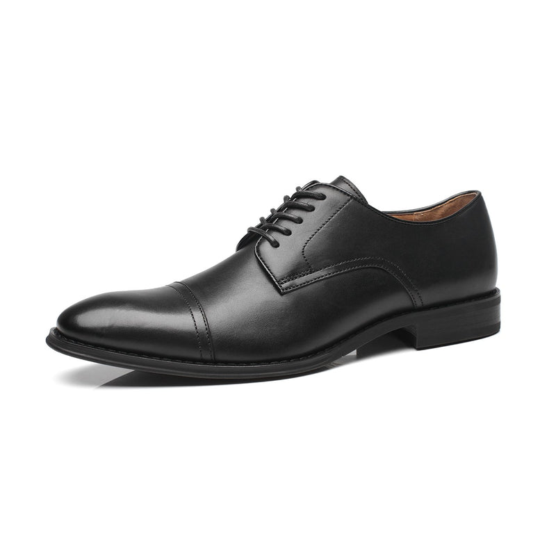 Men's Leather Classic Cap Toe Oxfords Lace Dress Shoes- Black