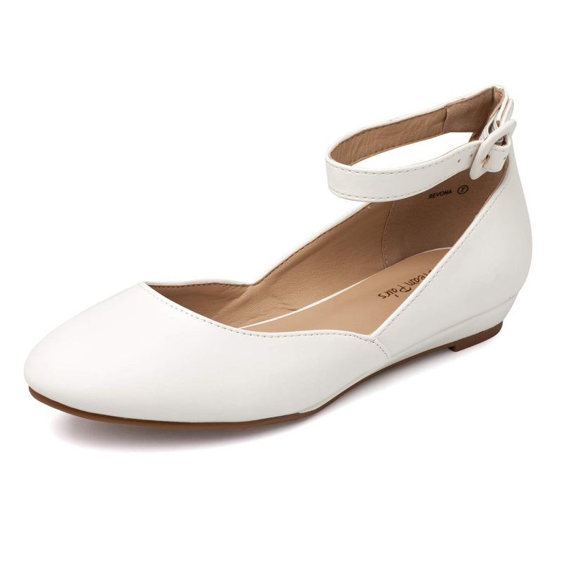 Women's Revona Low Wedge Ankle Strap Flats - White PU