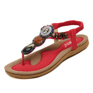 Women's Platform Bohemian Beaded Flip Flop Sandals- Red