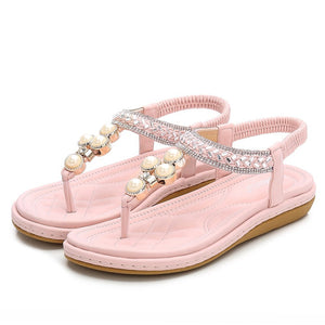 Women's Flat Sandals Summer Rhinestone Bohemian Flip Flop Shoes Pink-06