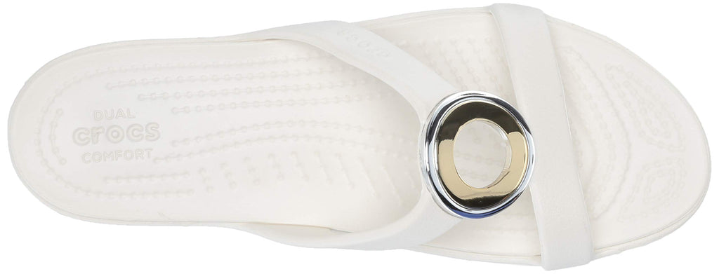Crocs Women's Sanrah Metal Block Sandal Slide, Multi Metal/Oyster