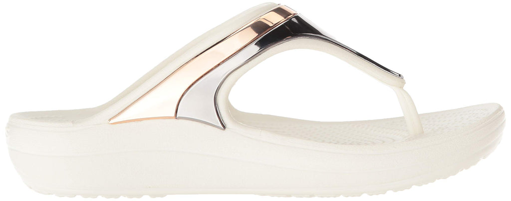 Crocs Women's Sloane Metal Block Flip Flop, Multi Rose Gold/Oyster