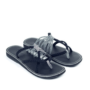 Plaka Flip Flops Slide Sandals for Women Black Zebra 5 Oceanside