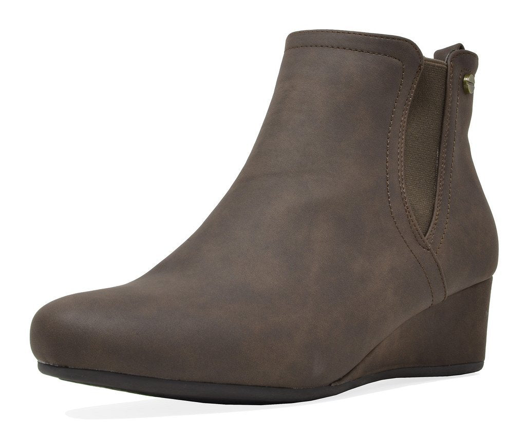 Women's Low Wedge Heel Ankle Boots- Zoie Brown