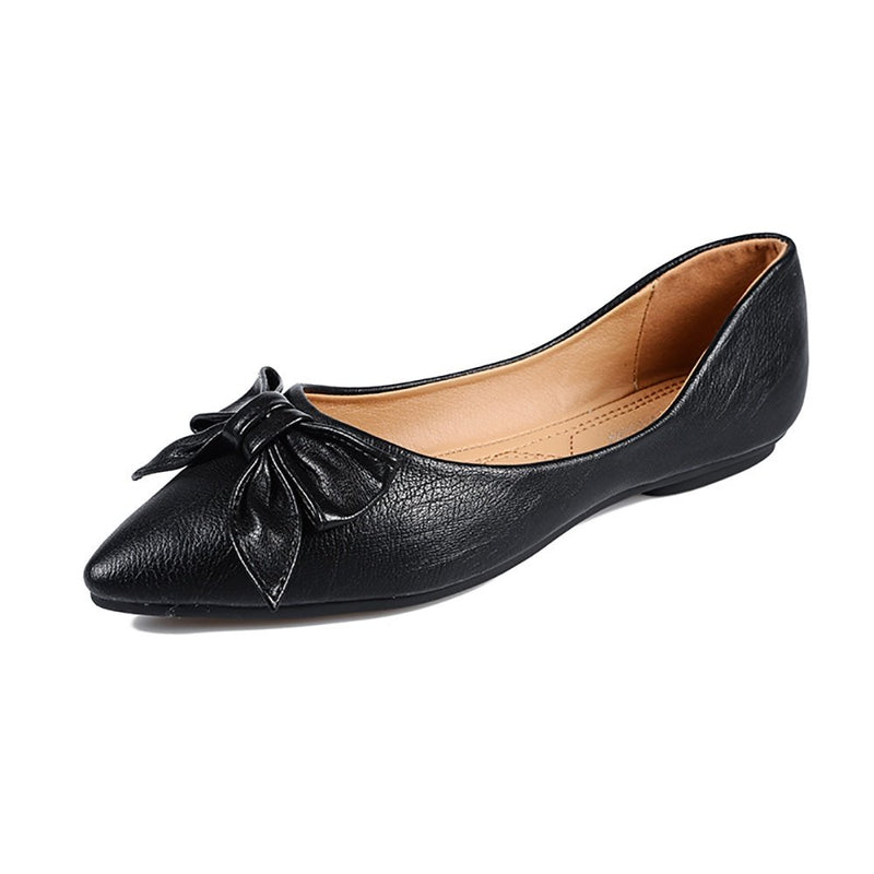 Women's Classic Pointy Toe Ballet Slip On Flat Shoes- Black