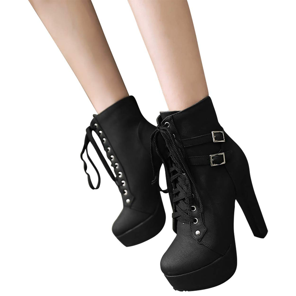 Women's Autumn Round Toe Lace Up Ankle Buckle Chunky High Heel Black