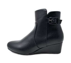 Women's Low Wedge Heel Ankle Boots- Lang Black