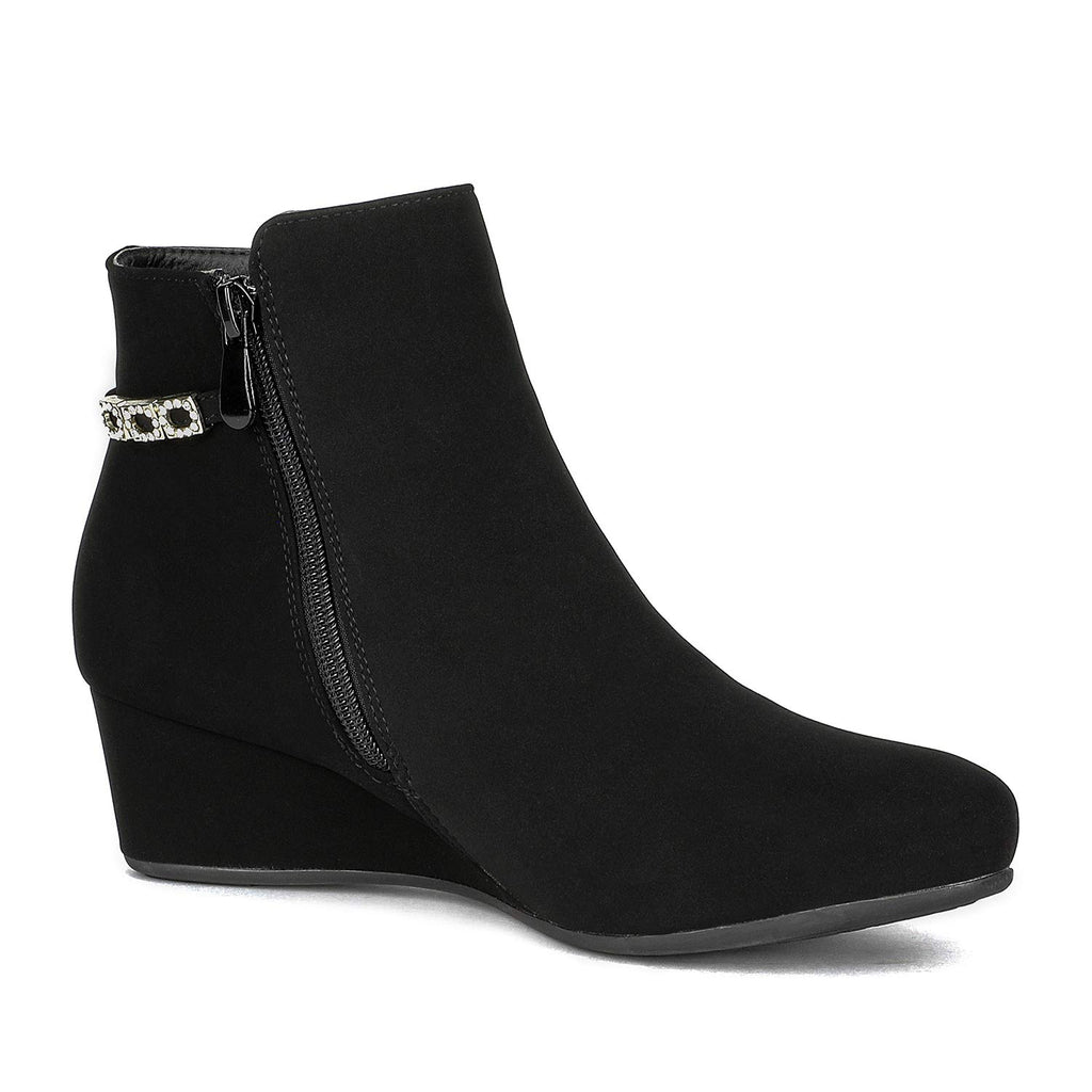 Women's Low Wedge Ankle Boots- Felicia Black
