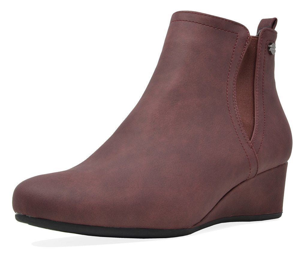 Women's Low Wedge Heel Ankle Boots- Burgundy-Z