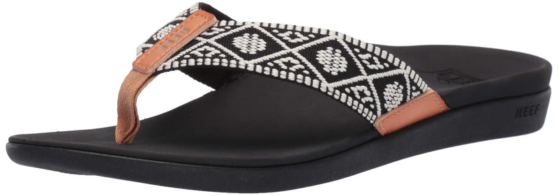 Women's Ortho-Bounce Woven Sandal- Black/White