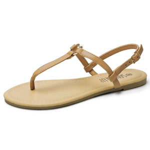 SANDALUP Thong Flat Sandals with U-Shaped Metal Buckle for Women Summer Brown