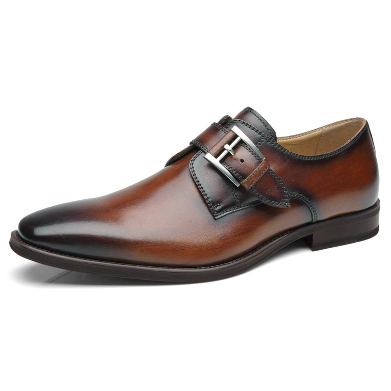 Men's Single Monk Strap Leather Dress Shoes- Will-1- Cognac