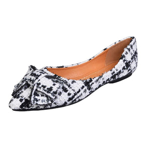 Women's Classic Pointy Toe Ballet Slip On Plaid Dress Flat's- Bow White