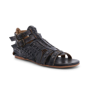 Bed|Stu Women's Claire Leather Flat Sandal-Black Driftwood