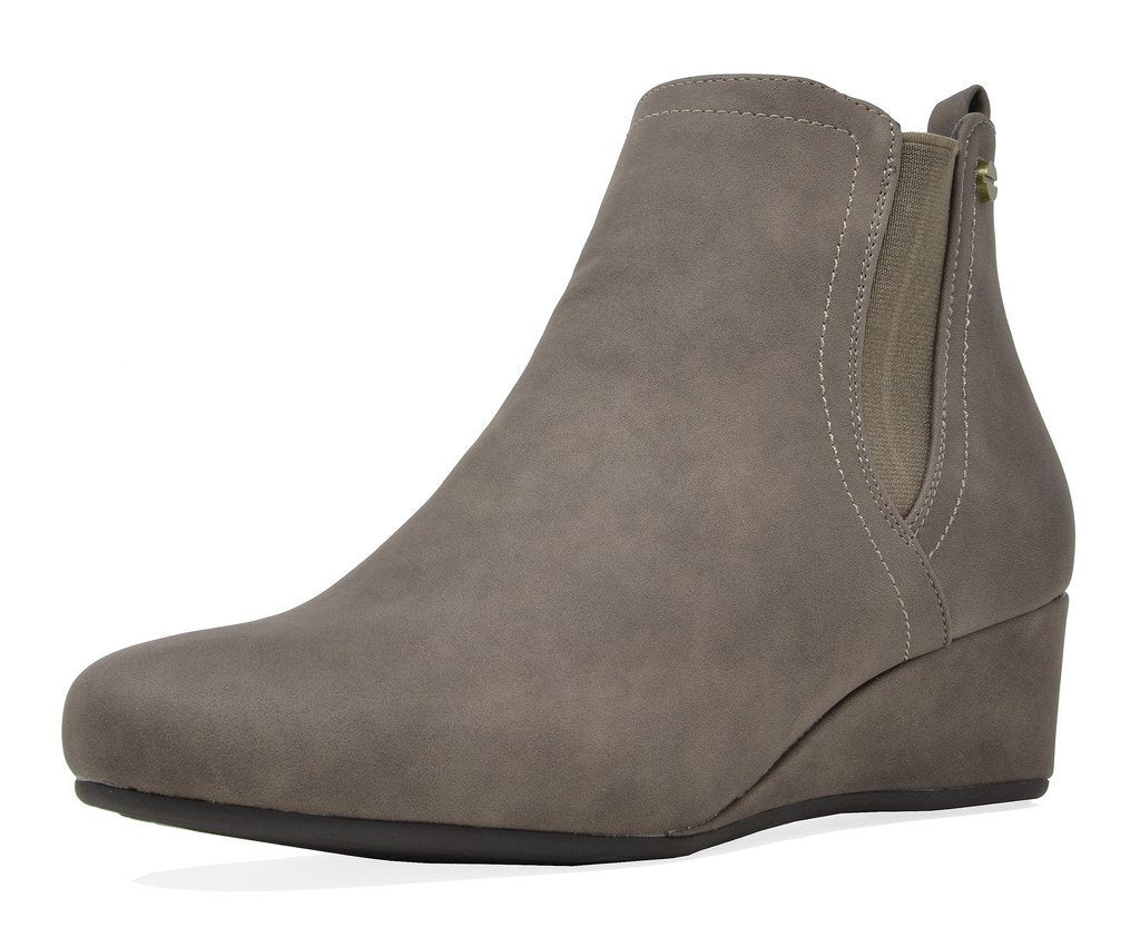 Women's Low Wedge Heel Ankle Boots - Zoie Khaki