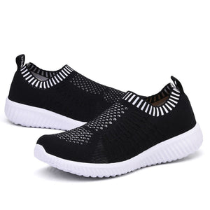 Women's Athletic Slip On Walking Sneakers- Black