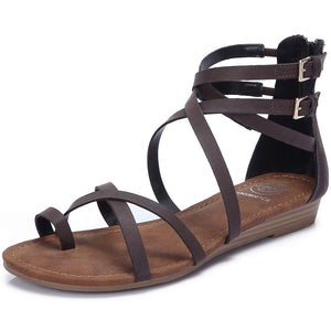 Women's Gladiator Adjustable Buckle Sandals-Coffee