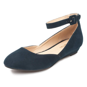 Women's Revona Low Wedge Ankle Strap Flats -Navy Suede