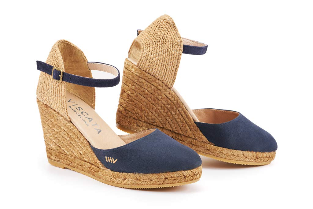 PEDROSA SUEDE WEDGE BY VISCATA  . High quality and soft suede . Premium soft leather innersole . Elegant ankle strap  . Leg enhancing 3-inch espadrille wedge heel that is comfortable enough to wear all day. See reviews  . Closed toe All-natural jute midsole