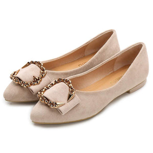 Women's Classic Pointy Toe Ballet Slip On Flat Shoes- Nude