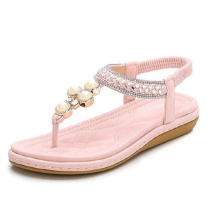 "Meeshine Sandals-Flat sandals with bohemia flower beaded make you look more elegant and fashion Stylish comfortable for high-quality elastic T-strap, breathable insole, and anti-skid rubber sole With their padded sole and cushioned footbed, these will provide all-day walking comfort Heel measures approximately 0.78""(2CM), Platform measures: 0.19""(0.5CM) Occasion : casual wear,beach,vacation,pool,street,party,summer dress sandals"