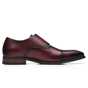 Men's Double Monk Strap Leather Slip on Loafer- Chal-1-Burgundy