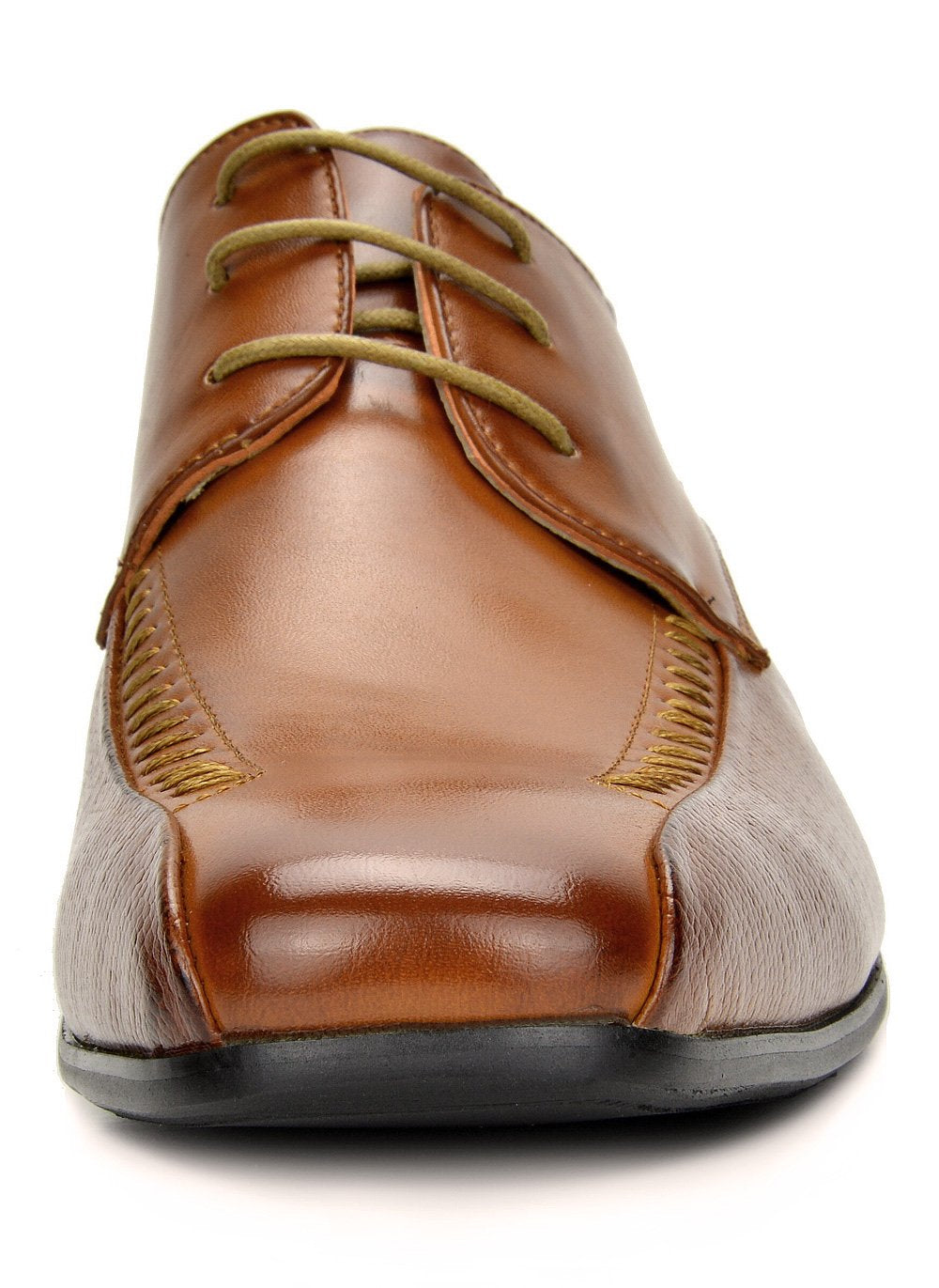 Men's Classic Modern Formal Oxfords Lace Up Leather Lined Snipe Toe- Brown