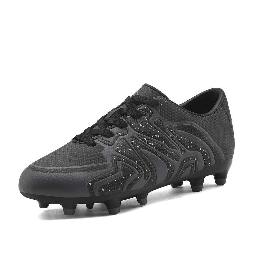 Kids Soccer Cleat Shoes- Black Dark Grey White