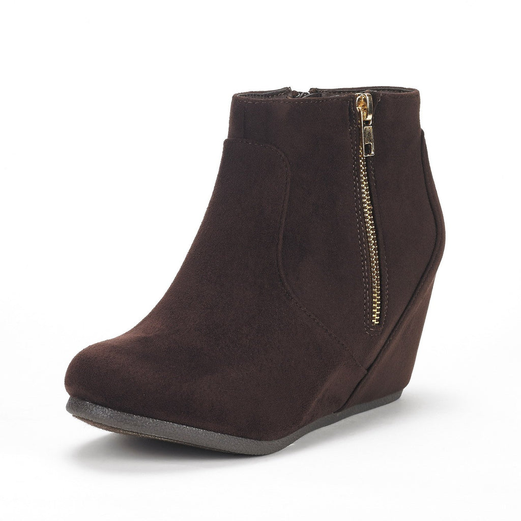 Women's Narie-Low Wedges Ankle Boots- Narie Brown