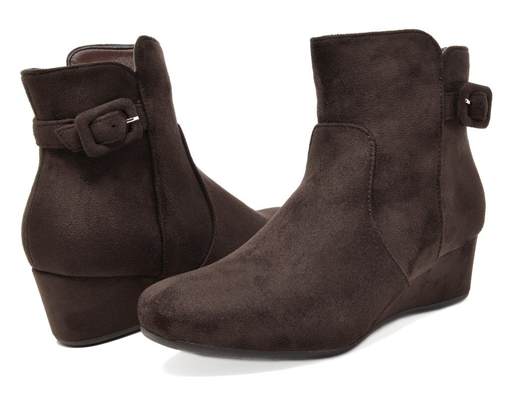 Women's Wedge Heel Ankle Boots- Lang Brown