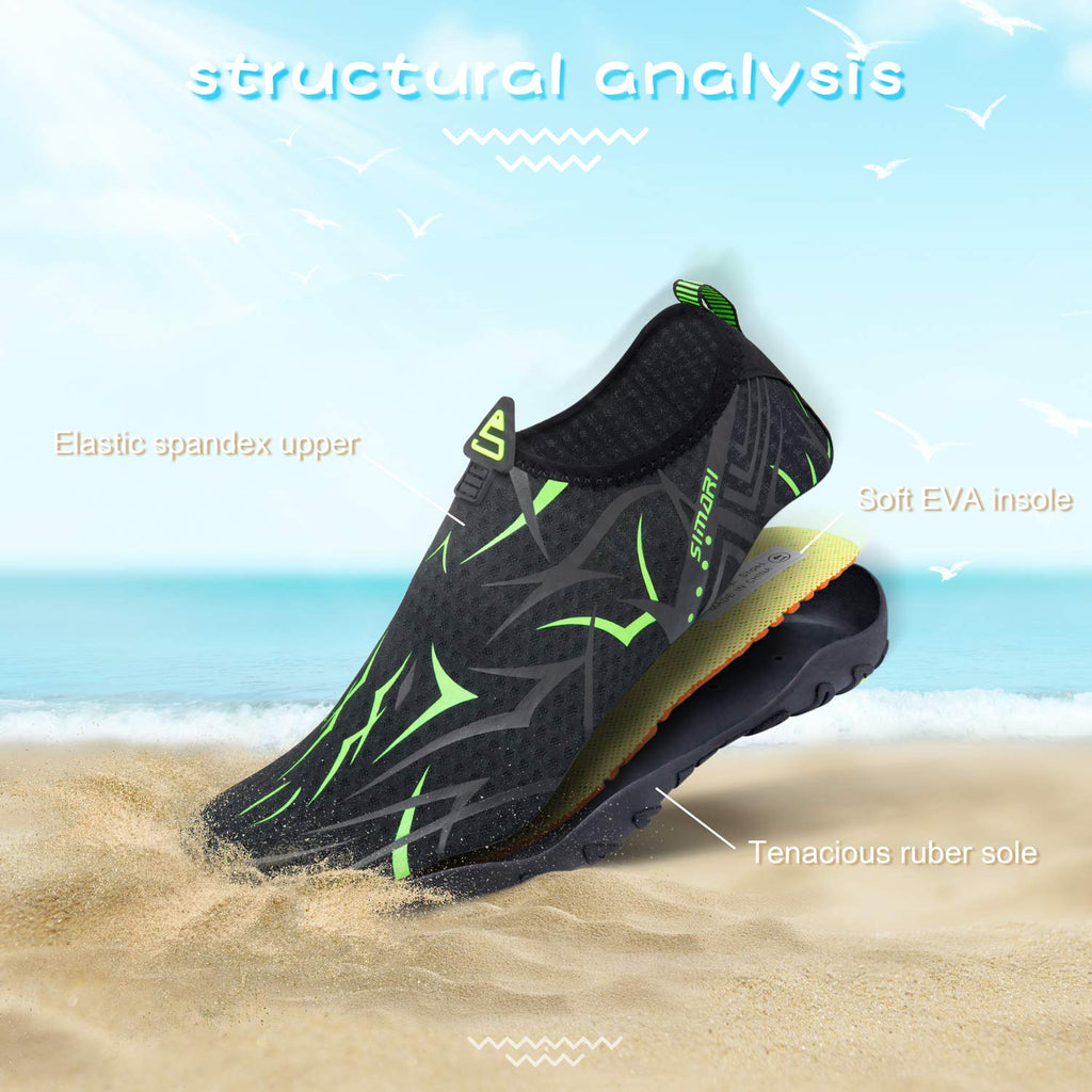 Men's Diving, Swim, Surf Quick Dry Water Shoes- Black Green