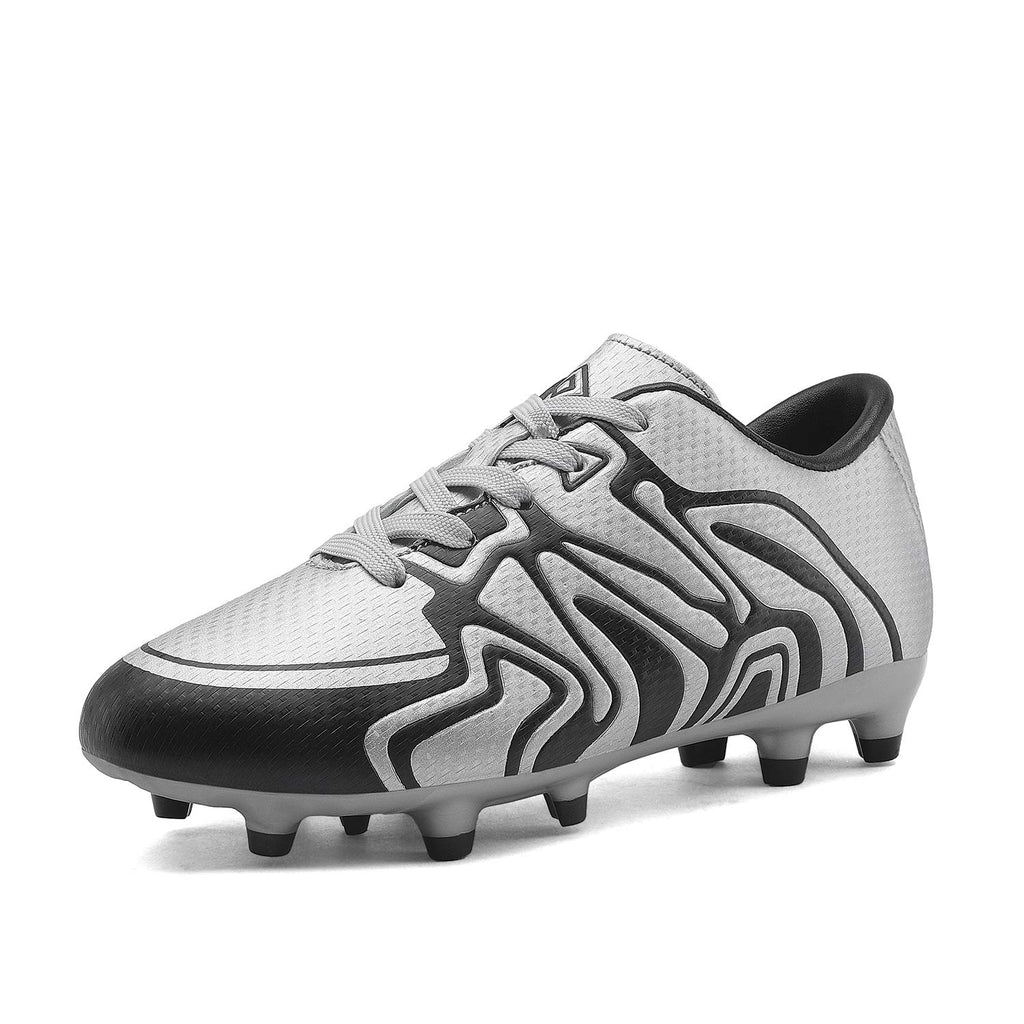 Kids Soccer Cleat Shoes- Silver Black White