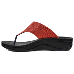AEROTHOTIC Comfortable Arch Support Flip Flop Sandals- Jewel Red