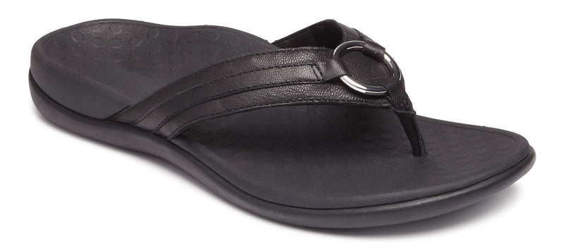 Women's Tide Aloe Toe-Post Sandal -Flip- Flop with Concealed Orthotic Arch Support -Black Leather