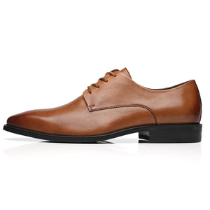 Men's Leather Classic Cap Toe Oxfords Lace Dress Shoes- Splendo-2-Cognac