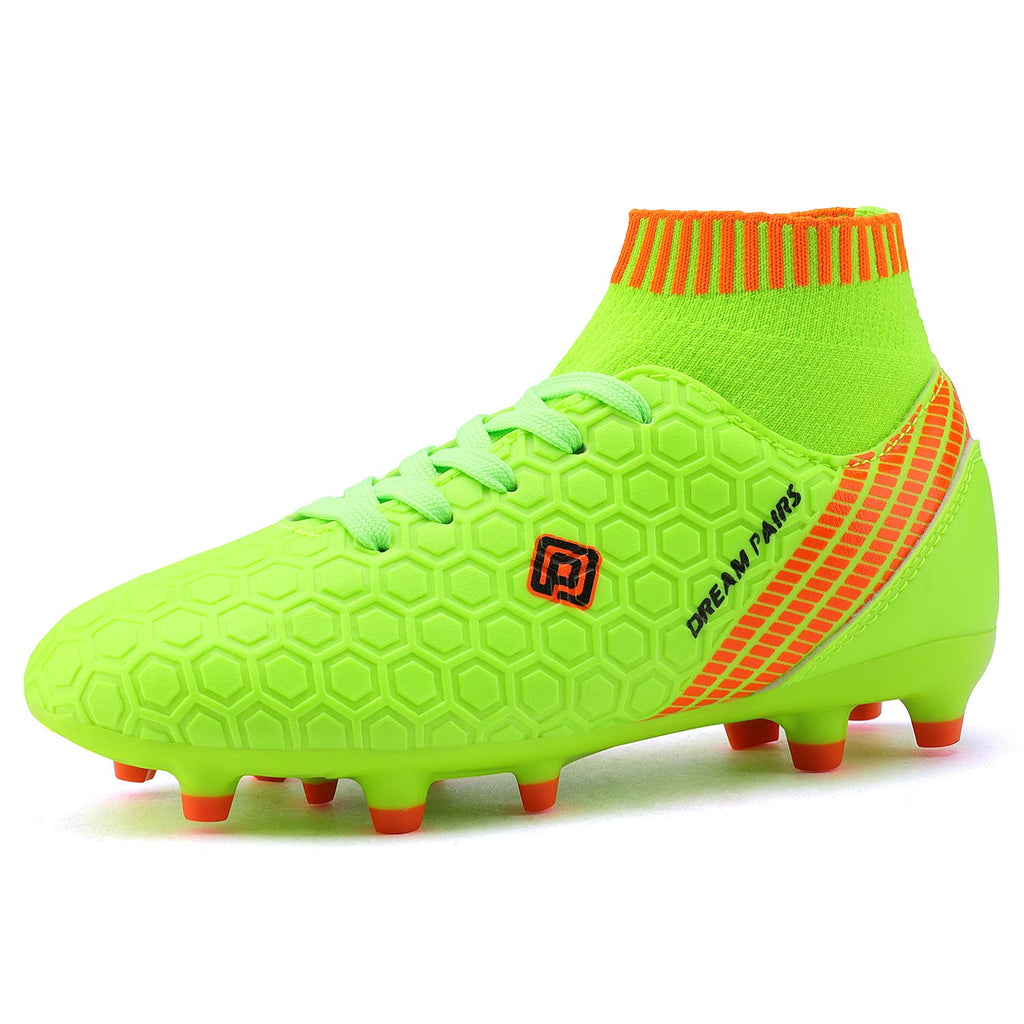 Kids Cleats Soccer Shoes- Neon Green White