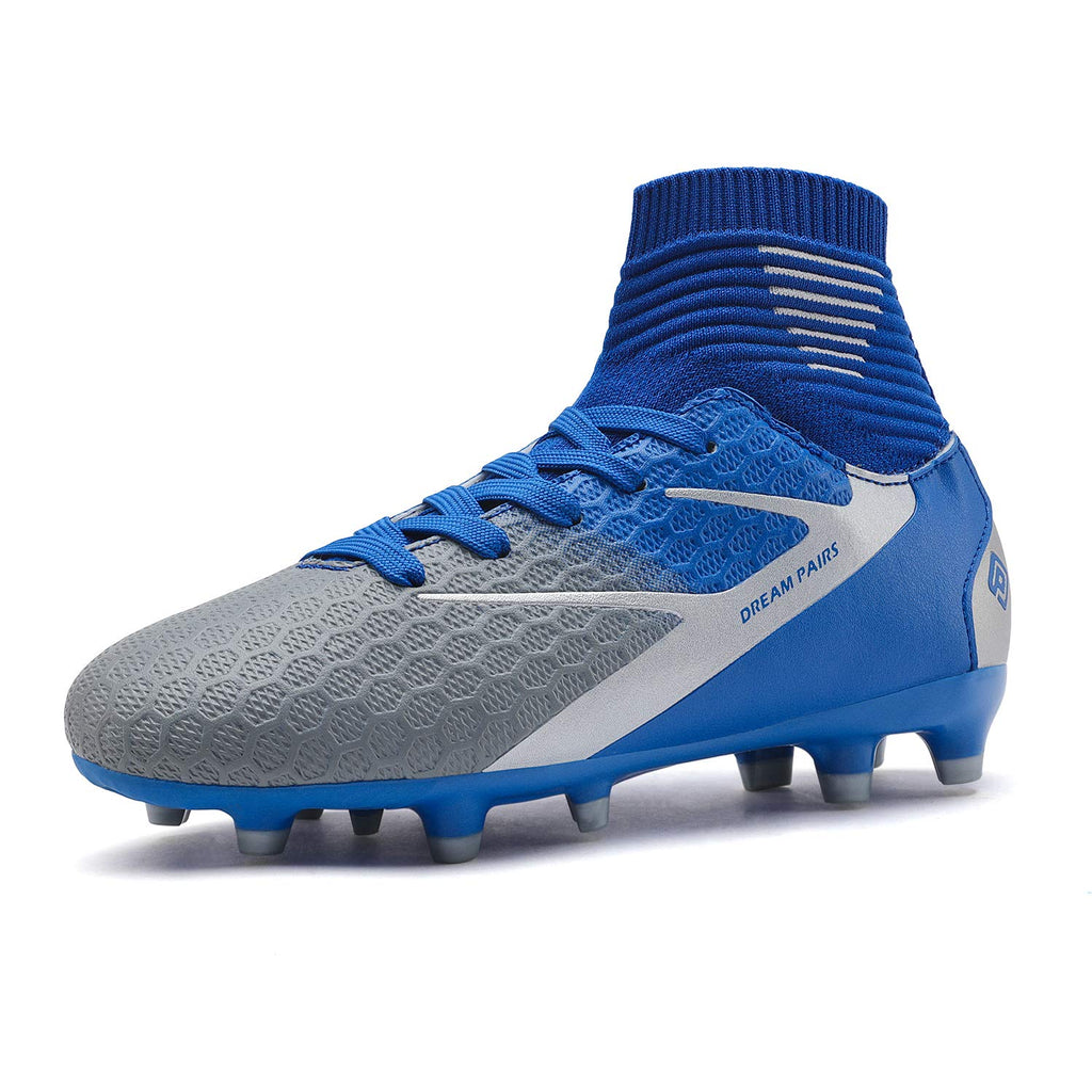 Kids Cleats Soccer Shoes- Blue White Grey