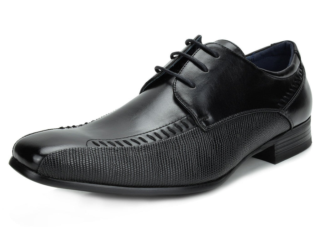 Men's Classic Modern Formal Oxfords Lace Up Leather Lined Snipe Toe- Black