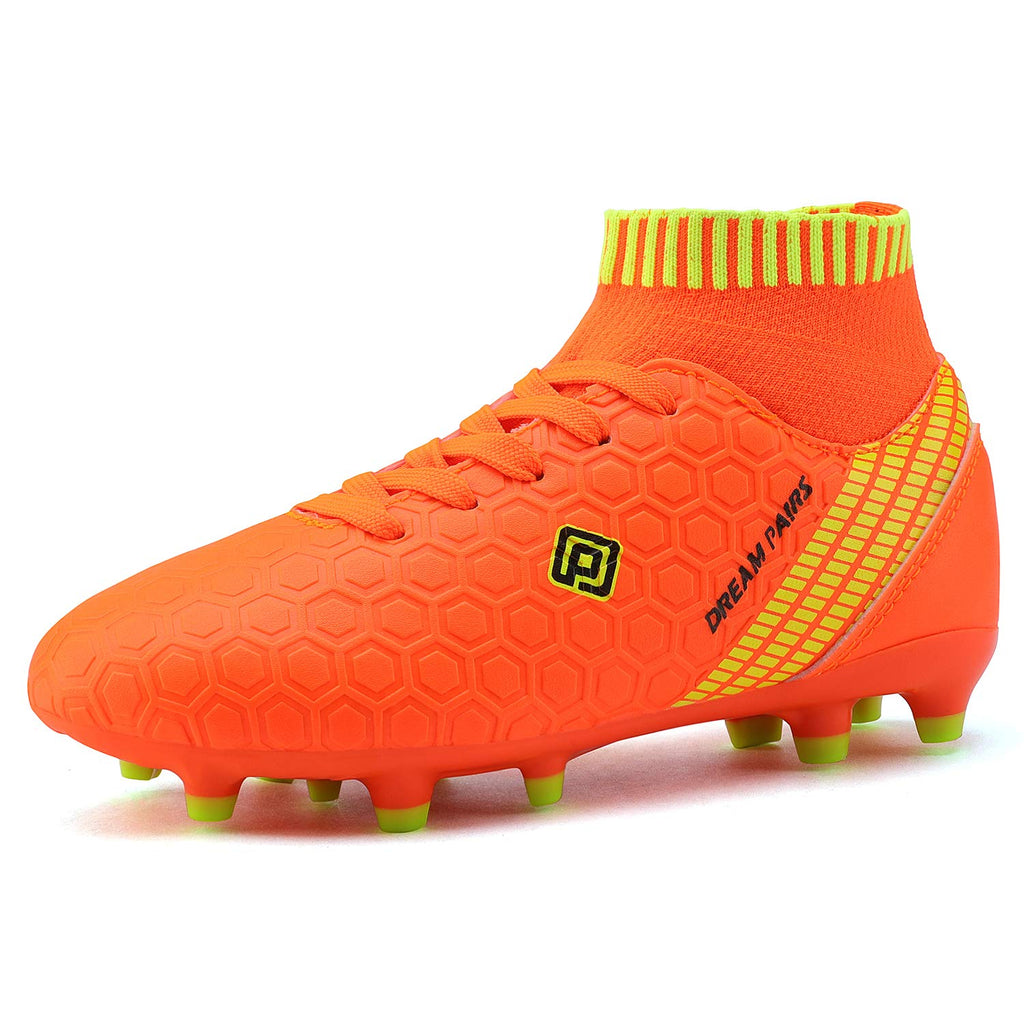 Kids Cleats Soccer Shoes- Orange White