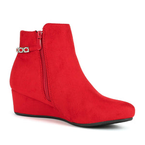 Women's Low Wedge Ankle Boots- Felicia Red