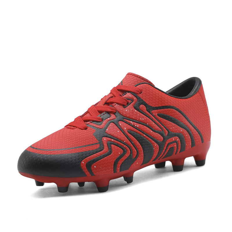 Kids Soccer Cleat Shoes- Red Black Silver