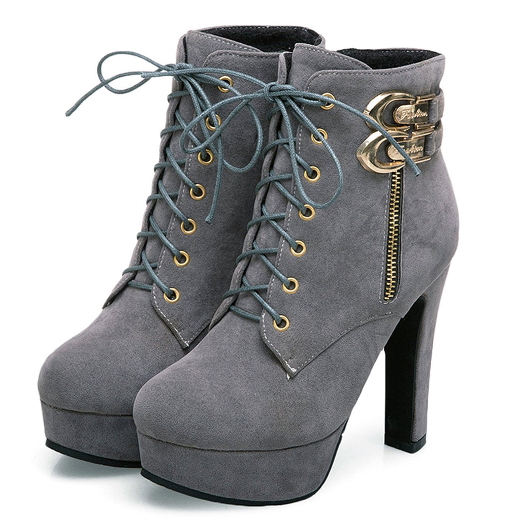 Women's Sexy Martin Boots P High Heel Ankle Booties W/Lace Up Zipper- Grey