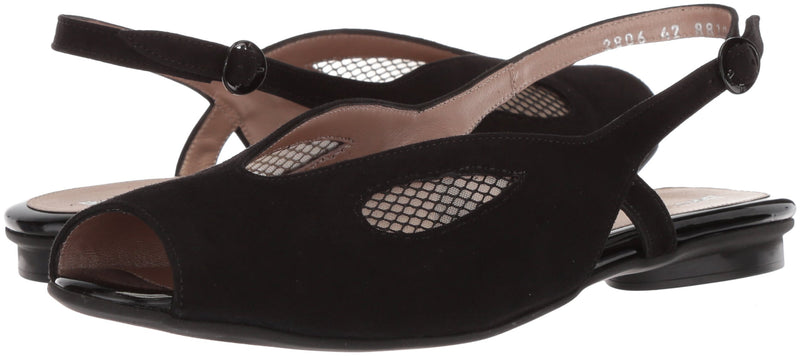 Women's IRMA Flat Sandal- Black Suede/Net Mesh Combination 370