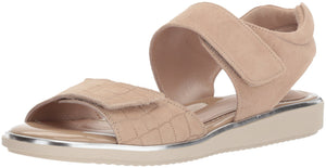 Women's ROMI Flat Sandal- Champagne Crocco Print Suede 380
